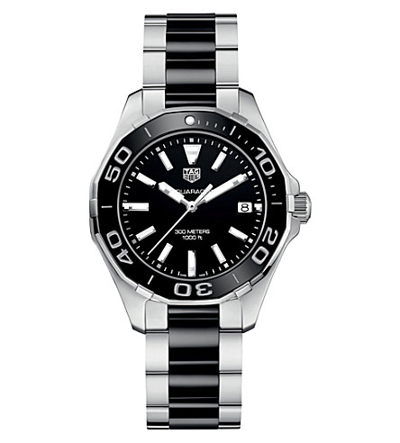 TAG HEUER WAY131A.BA0913 aquaracer stainless steel and cermic watch (Black