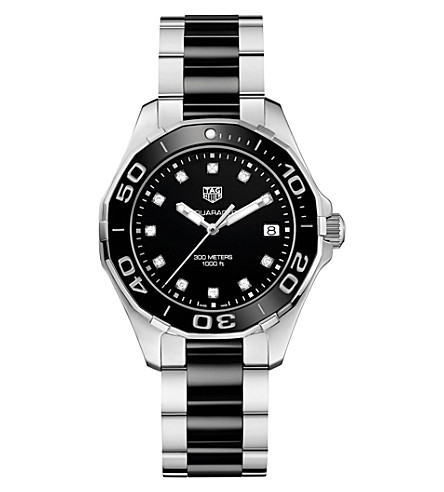 TAG HEUER WAY131C.BA0913 aquaracer stainless steel ceramic and diamond watch (Black