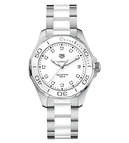 TAG HEUER WAY131D.BA0914 aquaracer stainless steel ceramic and diamond watch (White