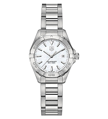 TAG HEUER WAY1412BA0920 Aquaracer polished steel and mother-of-pearl watch (Silver
