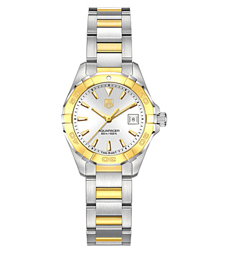 TAG HEUER way1455bd0922 aquaracer gold and stainless steel watch (White
