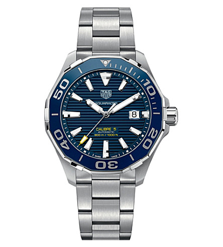 TAG HEUER WAY201BBA0927 aquaracer stainless steel blue mens (Blue