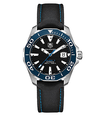 TAG HEUER way211bfc6363 aquaracer stainless steel black gents (Black