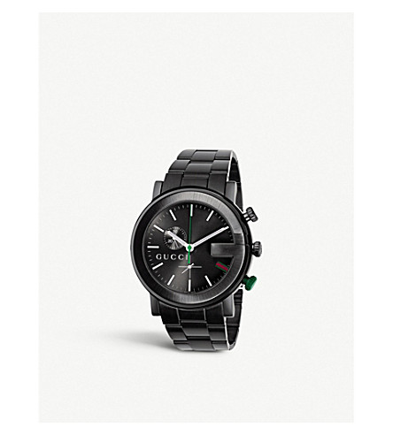 GUCCI YA101331 G-Chrono Collection PVD and stainless steel watch (Black+pvd