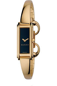 GUCCI YA109524 G-Line Collection gold PVD bangle watch