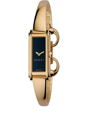 GUCCI YA109524 G-Line Collection gold PVD bangle watch