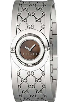 GUCCI YA112501 Twirl stainless steel bangle watch