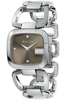 GUCCI YA125401 G-Gucci Collection stainless steel and diamond watch