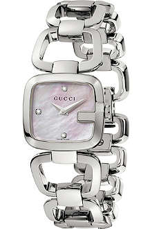 GUCCI YA125502 G-Gucci Collection stainless steel and diamond watch