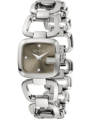 GUCCI YA125503 G-Gucci Collection stainless steel and diamond watch