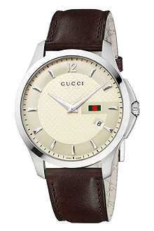 GUCCI YA126303 G-Timeless stainless steel and leather watch