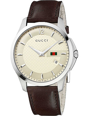 GUCCI YA126303 G-Timeless Collection stainless steel and leather watch