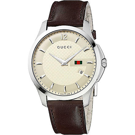 GUCCI YA126303 G-Timeless stainless steel and leather watch (Cream
