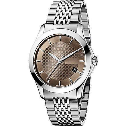 GUCCI YA126406 G-Timeless Collection stainless steel watch (Brown