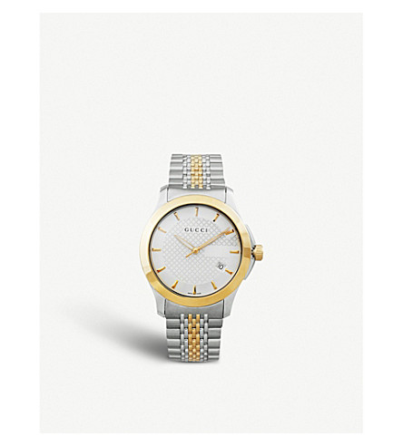 GUCCI YA126409 G-Timeless Collection stainless steel and yellow-gold PVD watch (Silver