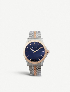 GUCCI YA126410 G-Timeless Collection stainless steel and pink-gold PVD watch