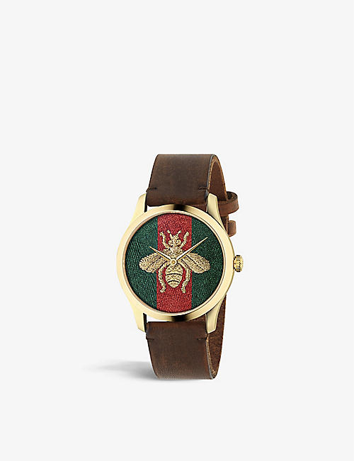 GUCCI: YA126451 G Timeless gold-plated stainless steel watch