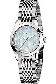 GUCCI YA126504 G-Timeless Collection stainless steel and diamond watch
