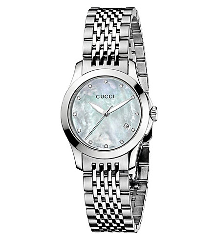 GUCCI YA126504 G-Timeless Collection stainless steel and diamond watch (Mother-of-pearl