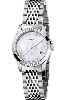 GUCCI YA126510 G-Timeless diamond-embellished steel watch