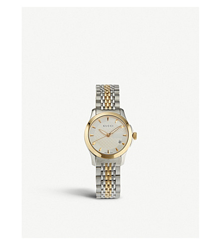 GUCCI YA126511 G-Timeless Collection stainless steel and yellow-gold PVD watch (Silver