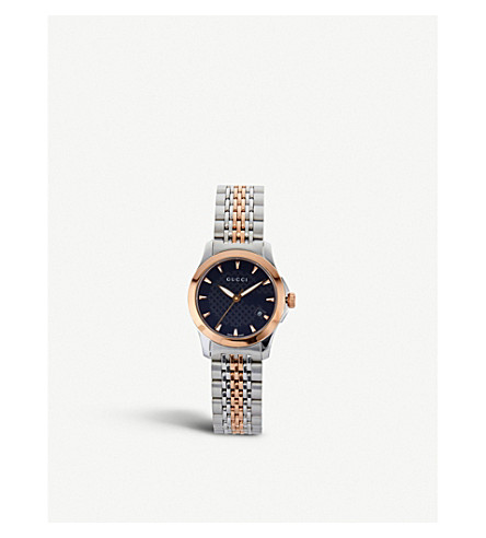 GUCCI YA126512 G-Timeless Collection bi-colour stainless steel and pink-gold PVD watch (Black
