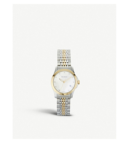 GUCCI YA126513 G-Timeless stainless steel and yellow-gold PVD watch (Mother-of-pearl