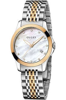 GUCCI YA126513 G-Timeless small stainless steel and gold watch