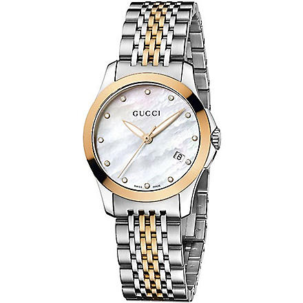 GUCCI YA126514 G-Timeless Collection bi-colour pink-gold PVD watch (Mother-of-pearl