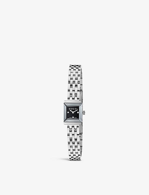 GUCCI: YA128507 G-frame Collection stainless steel and diamond watch