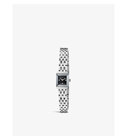 GUCCI YA128507 G-frame Collection stainless steel and diamond watch (Black