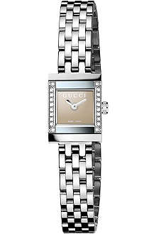 GUCCI YA128508 G-Frame diamond-embellished steel watch