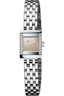 GUCCI YA128508 G-Frame diamond-embellished steel watch