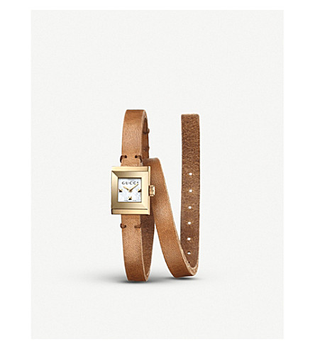 GUCCI YA128521 G-Frame leather watch (Mother of pearl