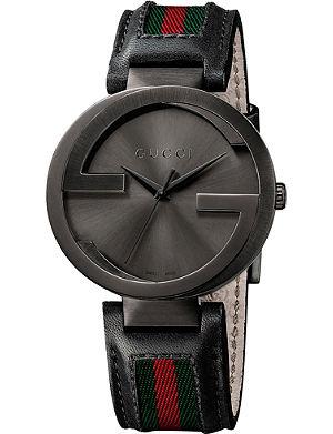 GUCCI YA133206 Interlocking XL PVD and leather watch