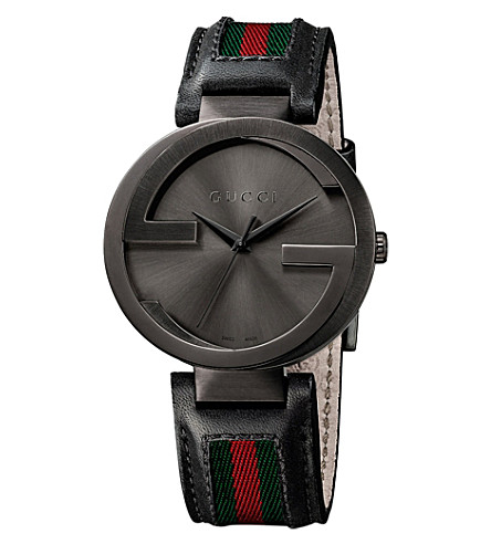 GUCCI YA133206 Interlocking XL PVD and leather watch