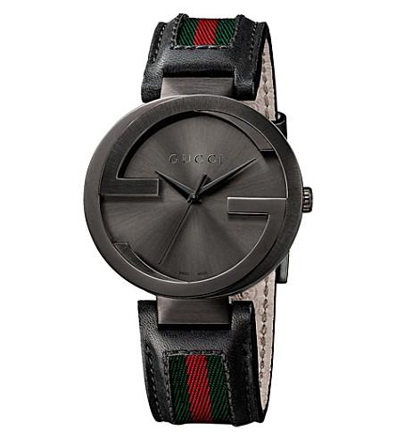 GUCCI YA133206 联锁 XL PVD 和皮革手表