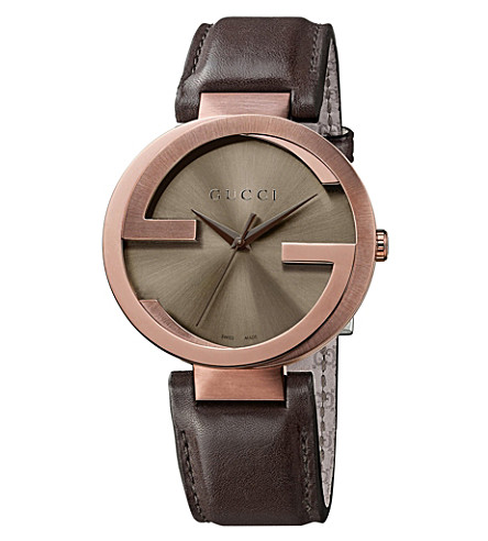 GUCCI YA133207 Interlocking rose gold-plated and leather watch