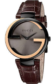 GUCCI YA133304 Interlocking-G 18ct gold and black steel watch