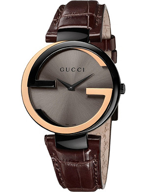 GUCCI YA133304 Interlocking-G Collection 18ct pink-gold and black PVD watch