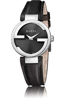 GUCCI YA133501 Interlocking-G stainless steel and leather watch