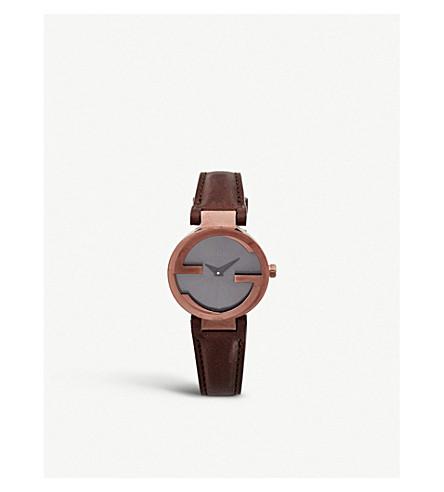GUCCI YA133504 联锁-G 收集棕色 PVD 手表