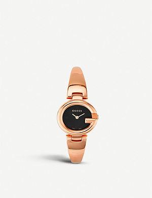 GUCCI YA134509 Guccissima pink-gold PVD watch
