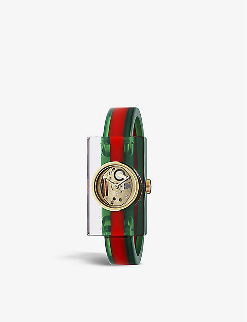 GUCCI YA143501 Plexiglas bangle watch