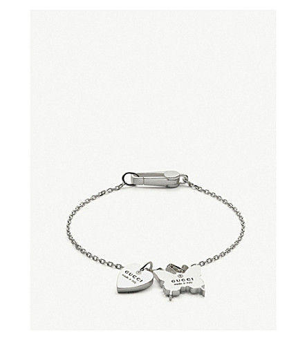 GUCCI Trademark silver charm bracelet (Silver