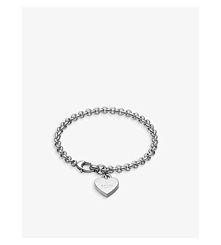 GUCCI Heart sterling silver pendant bracelet (Silver