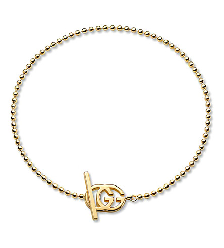 GUCCI Brand-motif 18ct yellow-gold bracelet (Yellow+gold