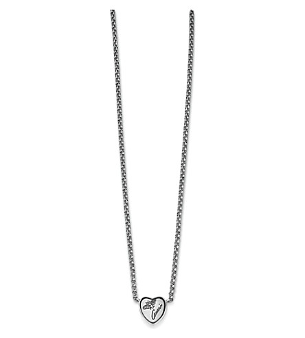 GUCCI Flora sterling silver heart necklace (Silver