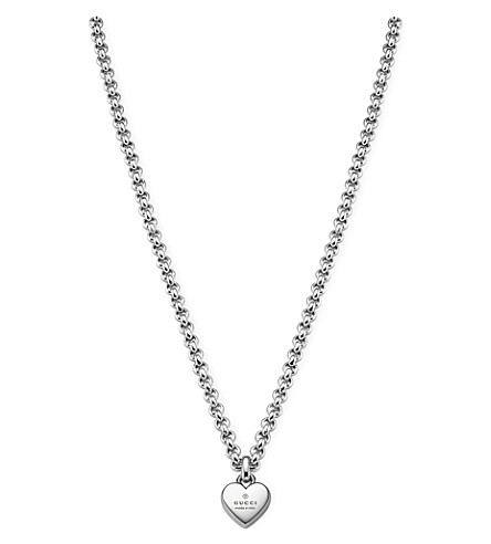GUCCI Trademark sterling silver pendant necklace (Silver