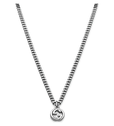 GUCCI Interlocking G sterling silver necklace (Silver